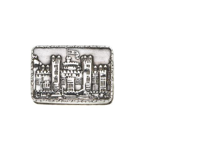 A Victorian silver castle top 'Windsor Castle' Vinaigrette, by Nathaniel Mills, Birmingham 1838,
