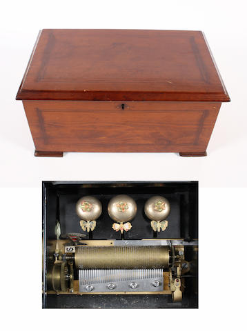 An eight air cylinder musical box with three tuned bells, circa 1885,