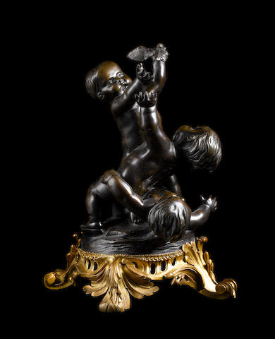 Bronze of three cupids, base signed Henry Dasson