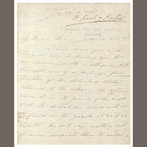 WATERLOO. Autograph letter signed by J. Wallace, [1815]