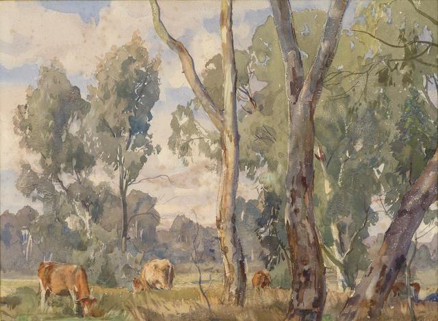 Hans Heysen (1877-1968) Cows Grazing c.1925