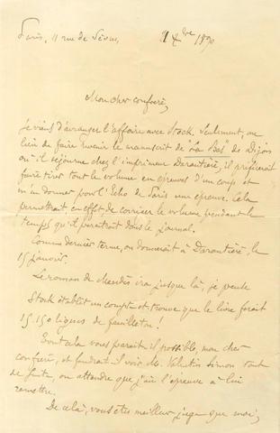 HUYSMANS (J.K.) Autograph letter signed, 1890