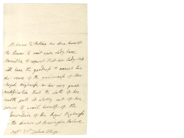 BURNEY (FANNY) Autograph letter in the third person, as Madame d'Arblay, [?1813]