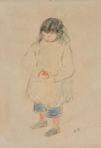 Camille Pissarro (French, 1830-1903) Enfant tenant une pomme / Ludovic-Roldolphe (Pissarro's 5th child)