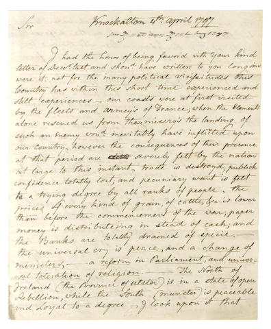 "IRELAND – UPRISING OF 1798. Autograph letter signed (""Hervey deM: Morres"") by the United Irishman Hervey Montmorency Morres, 1797"