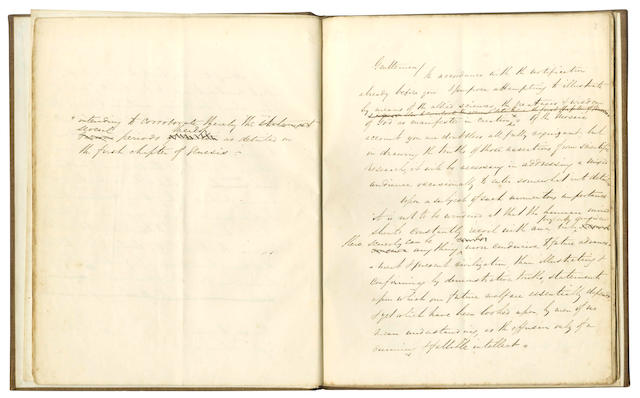 "DARWINIAN EVOLUTION and THE CREATION. Autograph manuscript by George Sayle of ""Creation Scientifically considered illustrating the greatness & wisdom of God as therein manifested"", 1851"