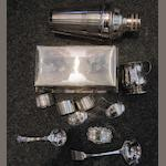 A group of silver and silver plate to include a silver cigarette box Sheffield 1963