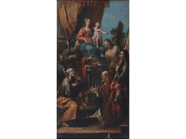 Venetian School Mid 18th Century Adoration of the Virgin 51.5 x 29.5cm.