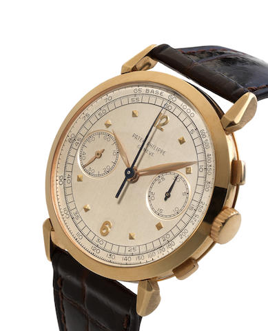Patek Philippe. A very fine and rare 18ct yellow gold manual wind chronograph wristwatch together with Extract from ArchivesRef:1579, Case No.693216, Movement No.868856, Made in 1986, Sold May 11th 1957