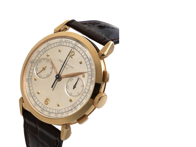 Patek Philippe. A very fine and rare 18ct yellow gold manual wind chronograph wristwatch Ref:1579, Case No.693216, Movement No.868856, ******