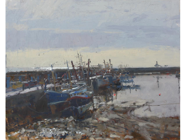 Ken Howard R.A. (British, born 1932) Newlyn Light Study 40.5 x 51cm.