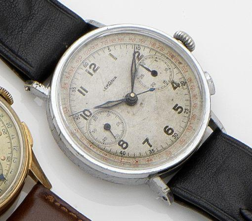 Lemania. A stainless steel chronograph manual wind wristwatch 1940's