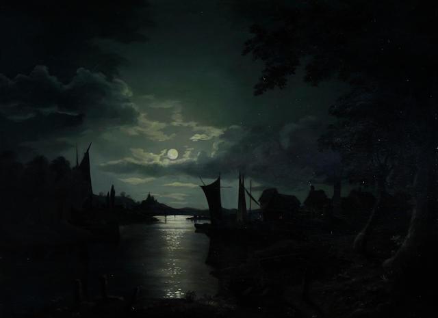 Follower of Sebastian Pether (British, 1790-1844) Moonlit estuary scene