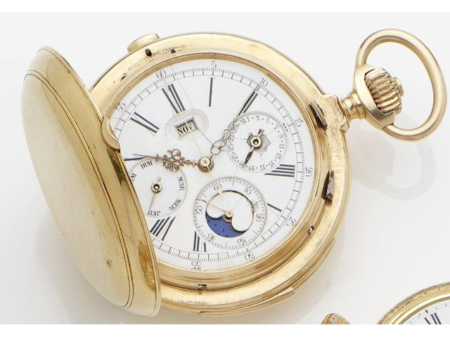 Unsigned. An 18ct gold manual wind full hunter triple date chronograph minute repeating pocket watch with moon phasesSwiss, No.1309, Circa 1890