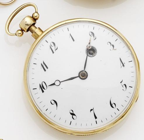 Swiss. A quarter repeating yellow metal open face pocket watch Case Numbered 132, Circa 1840