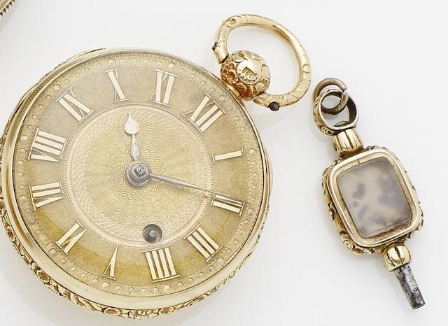 Unsigned. An early 19th century English cased 18ct gold half hunter pocket watch together with winding keyChester Hallmark for 1822