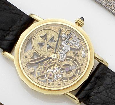 Vacheron Constantin. An 18ct gold skeletonised wristwatchCase No.607508, Movement No.747089, Circa 1980's