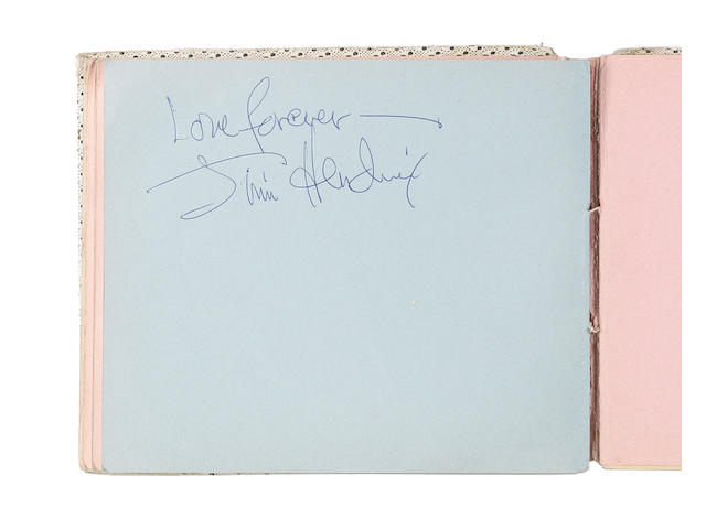 An autograph book signed by Jimi Hendrix,  1967,