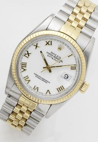 Rolex. A steel and gold calendar automatic bracelet watch with spare dialDatejust, Ref:16013, Case No.8039018, Movement No.0892022, Sold on 21st July 1984