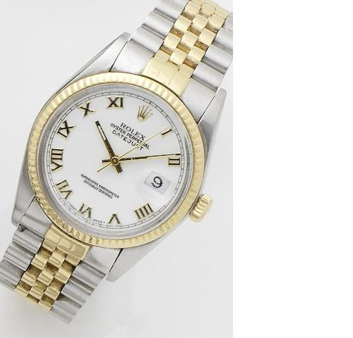 Rolex. A steel and gold calendar automatic bracelet watch with spare dial  Datejust, Ref:16013, Case No.8039018, Movement No.0892022, Sold on 21st July 1984