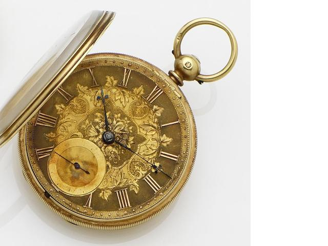 Swiss. An 18ct gold open faced key wind pocket watch No.29188, London Hallmark for 1864