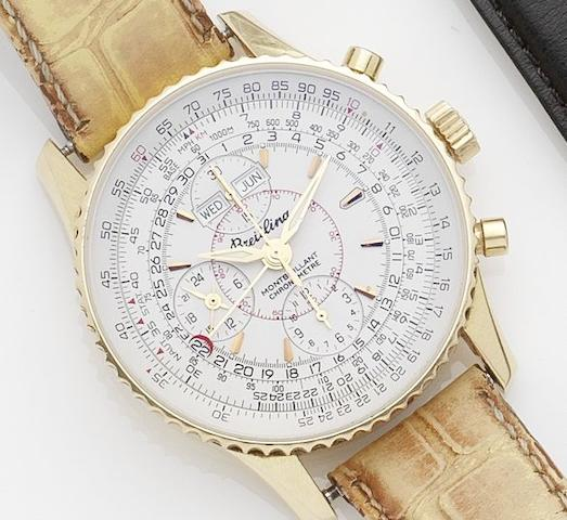 Breitling. An 18ct gold triple calendar chronograph automatic wristwatchMontbrilliant, No.074/100, Ref:H21330, Recent