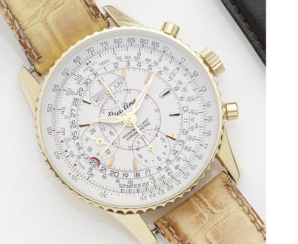 Breitling. An 18ct gold triple calendar chronograph automatic wristwatch  Montbrillant, No.074/100, Ref:H21330, Recent