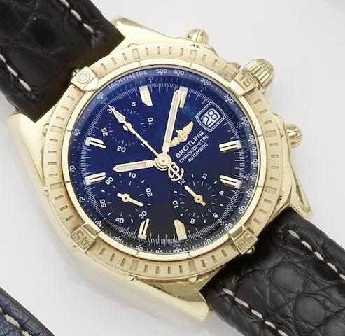 Breitling. An 18ct gold automatic chronograph wristwatch  Chronomat, No.165, Ref:K13352, Case No.270061, Sold on 6th March 2003