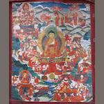A large Tibetan thangka of Sakyamuni 19th/20th century