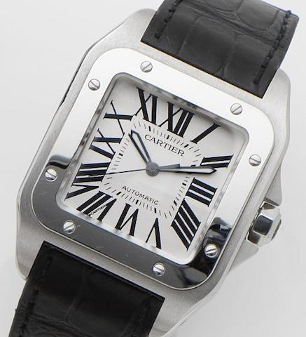 Cartier. A stainless steel automatic wristwatch Santos 100, Ref:2656, Case No.736529CE, Recent