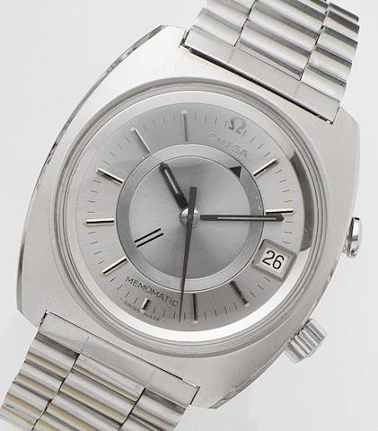 Omega. A stainless steel calendar alarm automatic bracelet watchMemomatic, Ref:166.072, Movement No.31339047, 1980's