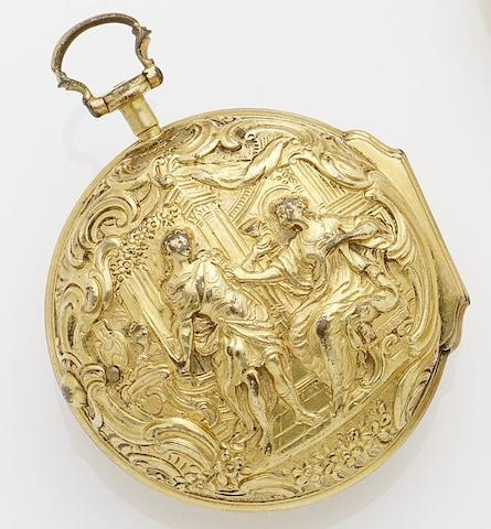 J.Josephson, London. A gold repousse pair case pocket watch No.6473, Cira 1780's