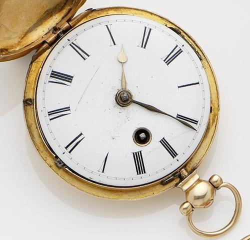 William Howard. An 18ct gold full hunter key wound pocket watchNo.1049, London Hallmark for 1833