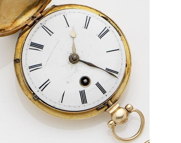 William Howard. An 18ct gold full hunter key wind pocket watch No.1049, London Hallmark for 1833