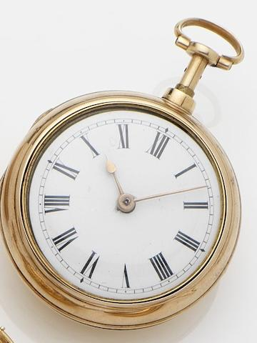 James Street, London. An 18ct gold key wound repeating pocket watch, later outer caseNo.1000, Circa 1760's, outer case circa 1893