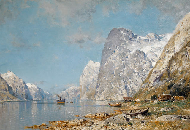 Walter Moras (German 1856-1925) A Norwegian fjord