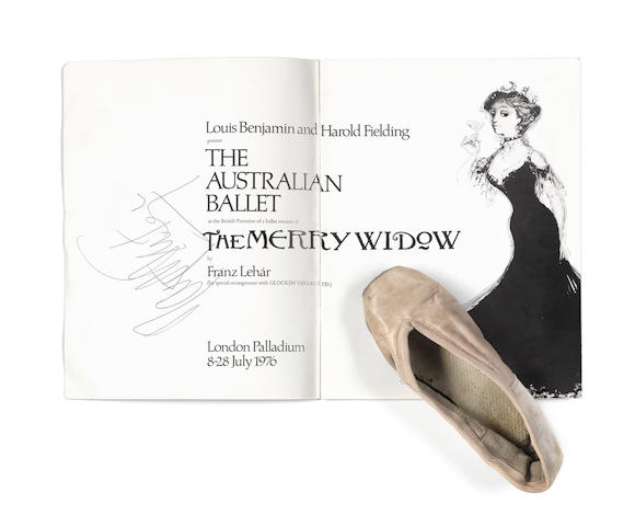 A Margot Fonteyn ballet shoe and an autographed programme,