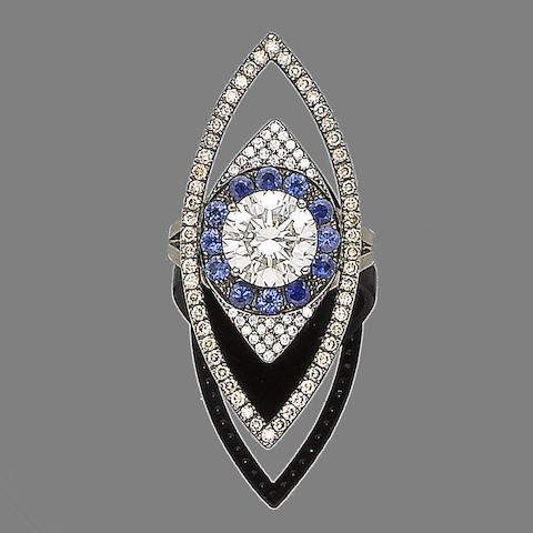 A diamond and sapphire dress ring, by Ileana Makri