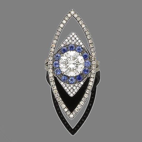 A diamond and sapphire dress ring, by Ileana Makri