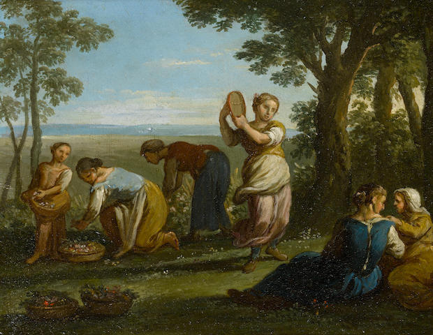 Paolo Monaldi (Rome 1725-1780) Maidens picking flowers in a woodland landscape
