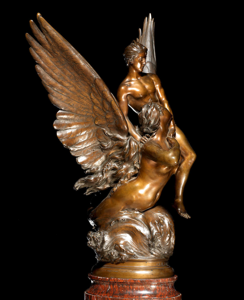 "Denys-Pierre Puech, French (1854-1942) A large bronze group entitled ""La Sirene"", cast by Ferdinand Barbedienne, Paris, dated 1890"