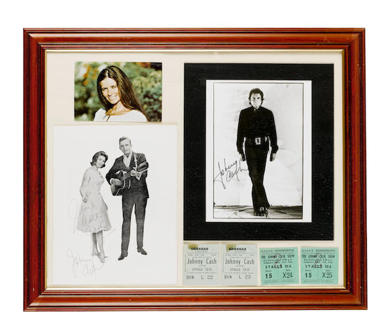 A autographed Johnny/June Cash programme and tickets,