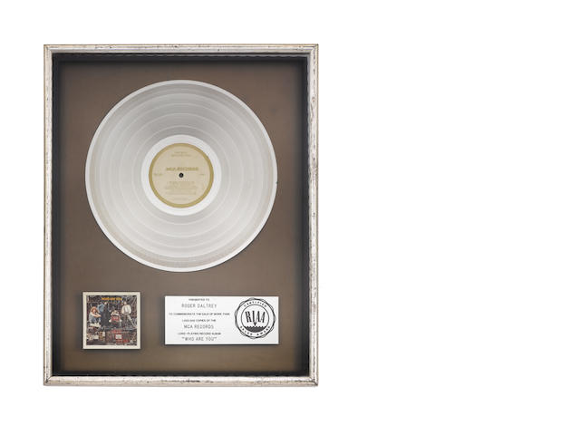 Roger Daltrey: a 'Platinum' sales award for the album 'Who Are You',