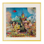 A 3-D album cover image, 'Their Satanic Majesties Request' by the Rolling Stones, 1967,