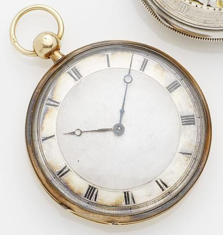 Vaucher Freres. A gilt metal open faced repeating pocket watch No.11714, Circa 1860