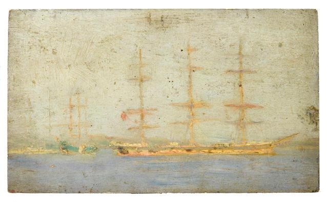 Henry Scott Tuke, RA, RWS (British, 1858-1929) Windjammer in Falmouth Roads; Boats on a calm sea