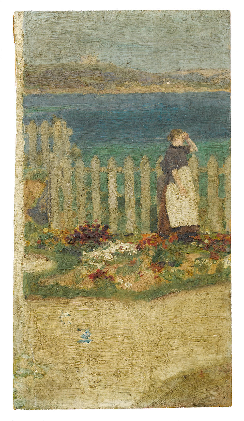 Henry Scott Tuke, RA, RWS (British, 1858-1929) Boy with hat (recto), Italian man with hat (verso); Boy in straw hat (recto), Lady looking out to sea (verso)