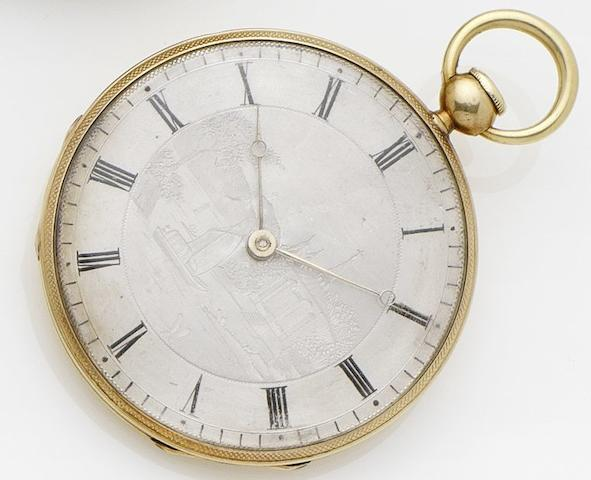 Liodeta. A continental gold quarter repeating open faced key wind pocket watch No.1253, Circa ??