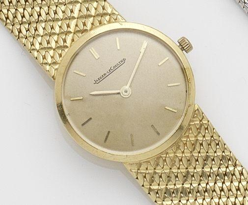 Jaeger LeCoultre. An 18ct gold lady's bracelet watch Case No.920586, Movement No.1600736, London Hallmark for 1963