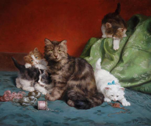 Daniel Merlin (French, 1861-1933) Kittens at play